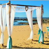 Beach wedding arbour with shells & starfish - Shelly Beach, Caloundra