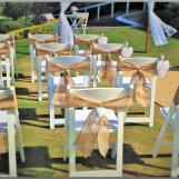 Burlap chair wedding sashes.