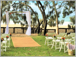 Wedding arbour draped with fresh flowers - Noosa