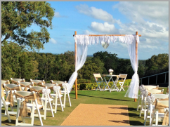 Wedding-Lace arbour and burlap chair sashes - Headland Golf Club