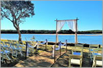 Wedding-Lace arbour with bamboo aisle posts - Currimundi Lake
