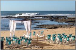 Wedding-Beach arbour with bamboo aisle posts - Shelly Beach