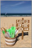 Wedding sign & basket of parasols.
