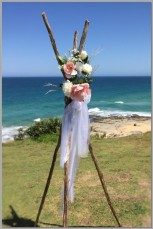 Wedding-Rustic teepee with flowers - Pt Cartwright